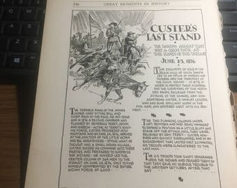 Custers last stand. 1933 book page history print illustration . Art frameable history