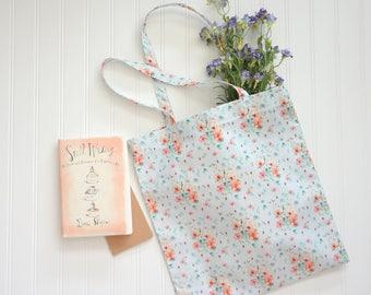 Watercolor Floral Cotton Tote, Book Bag, Market Bag, Tote Bag
