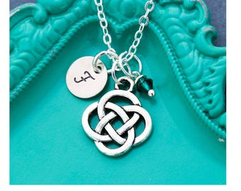 SALE • Celtic Knot Necklace Celtic Gift Knot Charm Small • Friend Gift Sister Friend Necklace Friendship Necklace Initial Small Handstamped