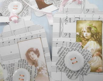 Darling Little Ladies Vintage Inspired Hang Tag Lot (6) Each Button Notions Embellished Cards Decorations Ornaments