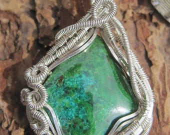 Flying High///Parrot Wing Chrysocolla, and Sterling Silver Wire Wrap Pendant, One of a Kind, Handmade, Art