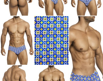 Royal Blue & Yellow Tile Swimsuits for Men by Vuthy Sim.  Choose Thong, Bikini, Brief, Squarecut - 190