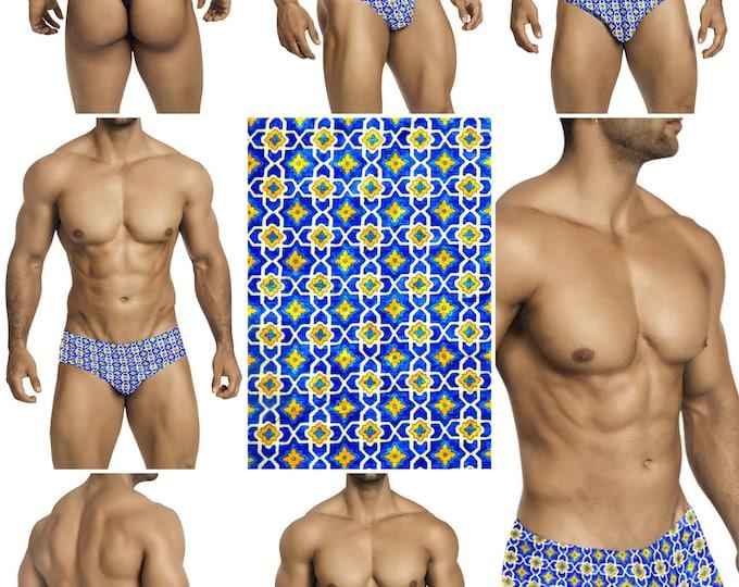 Royal Blue & Yellow Tile Swimsuits for Men by Vuthy Sim.  Choose Thong, Bikini, Brief, Squarecut - 190