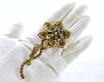 Vintage Brass Filigree Flower Brooch Aurora Borealis Rhinestone West Germany Signed