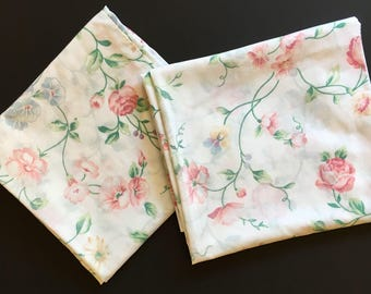 2 Vtg Pillowcases - King Size -  Pink and Green Floral - Cannon