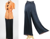 1940s Silk Pajamas, 40s Loungewear Set, Chinese PJ's Pajama Set, High Waist Wide Leg Pants