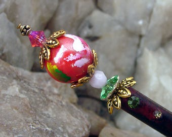 Deep Rose and Pink Floral Hair Stick Crystal Flower Kanzashi Hair Pins Japanese Hairstick Geisha Hair Sticks Oriental Hairstick - Rahi