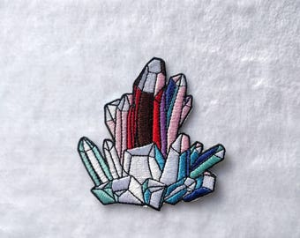Raw crystal cluster iron on patch - Crystal iron on patch - diamond iron on patch - Crystal cluster accessory - raw Crystal patch