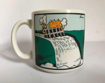 Vintage c. 1982 The Far Side Ceramic Crisis Clinic Coffee Mug by Gary Larson