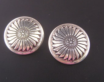 Vintage Southwestern Disc Earrings, Artisan Crafted Concho Concha Inspired Jewelry, Sterling Silver Button Earrings