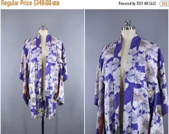 SALE - 1920s Vintage Silk Haori Kimono Jacket / Kimono Cardigan/ 20s Art Deco Silk Kimono Robe / Wedding Lingerie Loungewear / Purple Floral