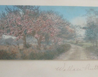 Wallace Nutting Hand Tinted Framed Photograph, Apple Blossom Lane