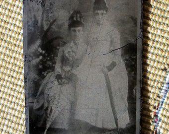 Tintype of Cabinet Card - Lloyd's Ladies