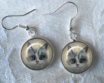 Gray and White Cat Drop Earrings  ~ Birthday Gift ~ Cat Earrings ~ Pet Keepsake ~ June birthday ~ Gifts for Her