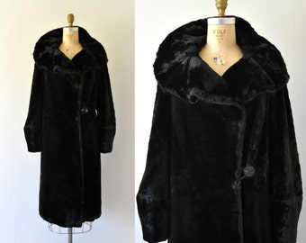 1920s Vintage Coat - 20s Black Sheared Beaver Fur Coat