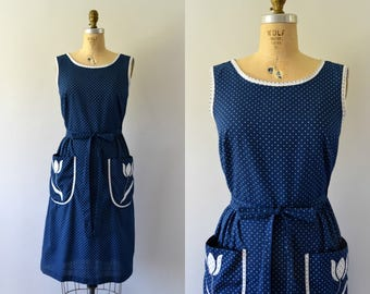 Vintage 1970s Dress - 70s Blue Polkadot Wrap Dress with Floral Applique