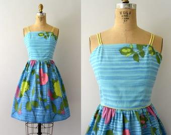 Vintage 1950s Sundress - 50s Blue Floral Cotton Sundress - Hydrangeas & Poppies
