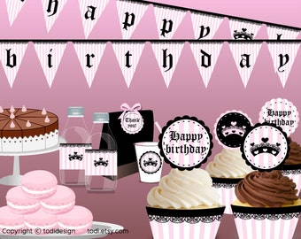 Couture Princess Party Printables -  Girls Fashion Birthday party, INSTANT DOWNLOAD