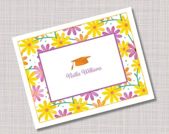 Custom Bright Daisy Flowers Graduation Thank You Note Cards