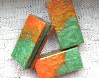 Aqua Green Gold and Stellar Peach - Japanese Grapefruit Glycerin Soap