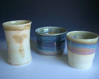 Hand thrown porcelain pottery jar suite of 3  (JS-3)