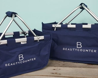 Beautycounter Market Tote basket navy embroidered LARGE
