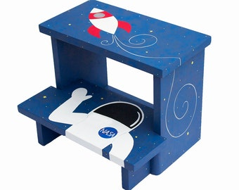 Large 2 Step Stool - Custom Hand Painted Children's Bench Seat Outer Space Rocket Ship and Astronaut or Any Kids Theme
