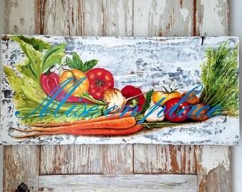 Mise en place original acrylic painting on repurposed wood
