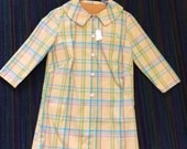 60s Yellow Plaid Dress Vintage 1960s S