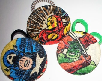 Marvel Comics,Set of 3 Button Pony O's,Ponytail Holder,Fabric Covered Hair Tie,Christmas Stocking Stuffer,Captain America,,Hulk,Iron Man