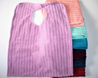 Large Adult Bib Made With Quick Dry,Striped Terry Cloth,Adult Clothing Protector,Choice of Peach,Purple,Lilac,Mint,Red,Navy,orTeal,Absorbent