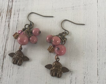 Gemstone earrings, stone earrings, angel charm earrings, pink earrings, Swarovski crystal earrings, vintage earrings