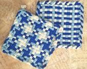 David's Potholders - Cotton Potholders - Christmas Blue Hot Pad - Woven Pot Holders - Cotton Trivet - Handmade - Set of 2