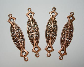 Copper Plated Brass Victorian Earring Drops Findings Connectors Stapmings 4