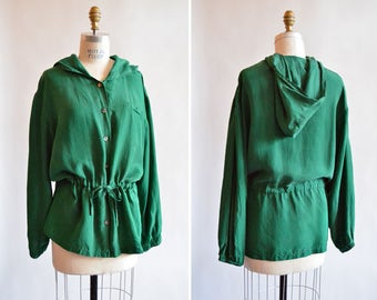Vintage 1980s hooded EMERALD green silk blouse