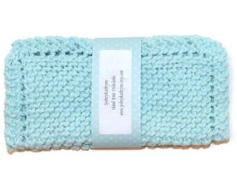 Robin's Egg Blue, Aqua Hand Knit Dish Cloths, Knitted Dishcloths, Handknit Dishrags, Knit Washcloths, Knit Dish Cloth
