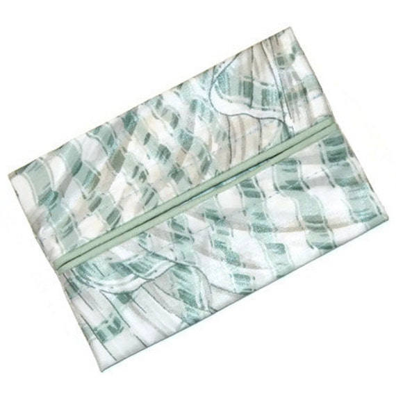 Travel Tissue Holder, Under 10 Dollars, Travel Tissue Cozy, Personal Size Purse Kleenex Holder,  Green and White Ribbon Stripe