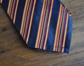 Whitehouse and Hardy silk tie 1950s navy stripe high end menswear mid century preppy