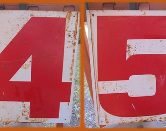 Vintage Metal Gas Station Numerals, Double Side Metal Signs, Rusty Chippy Rustic, Numbers, 4 / 5