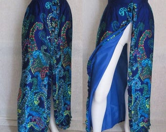 Hawaiian Maxi Skirt, High Slit, Ruffle Trim, Paisley Psychedelic Op Art, Vintage 60s 70s EXCELLENT