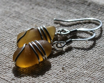 Genuine Seaglass Earrings - Vintage Golden Cinnamon Found Sea Glass Earrings Wire Wrapped