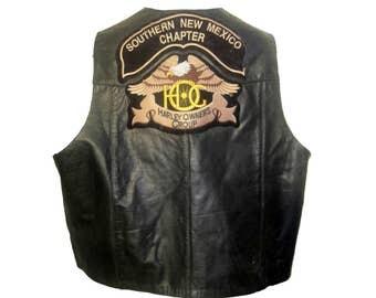Mens Biker Vest with Patches Vintage Southern New Mexico Chapter HOG Owners Group Black Leather Motorcycle Vest Mns Size 60 fits XXXLarge