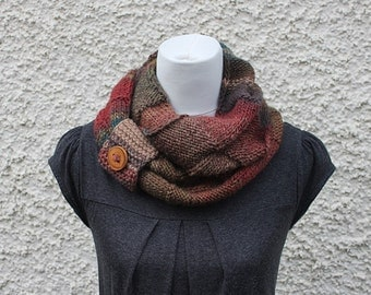 knitted scarf, infinity loop scarf, snood, multicolour scarf, red/brown, neckwear, gift for her, scarf uk