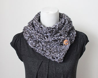 SCARF, knit button scarf, super soft scarf, chunky knitted scarf gray mix, gift for her, svarves uk,