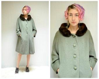 60s Swing Coat // Fur Collar Coat // THE CALICE