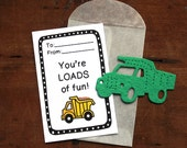 Dump Truck Valentines- SET OF 8 - includes color printed card, seed paper, and glassine envelope- choose from 16 seed paper colors