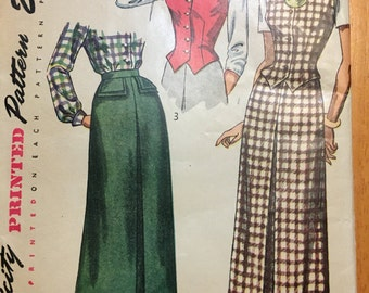 Simplicity 2720 UNCUT vintage pattern Size 14/32 Weskit and skirt copyright 1949