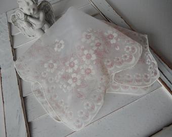 Ladies Handkerchief with Flocked Flowers Romantic Decor Wedding Gift