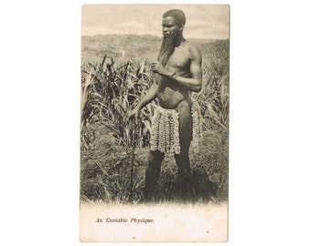 Vintage South Africa Postcard - Man with Stick and Long Beard - Ethnical