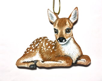 Fawn Christmas Ornament - Baby Deer Ornament - Woodland Decoration Roe Deer Fawn - Handmade Hand Painted Wood - Rustic Holiday Decor
